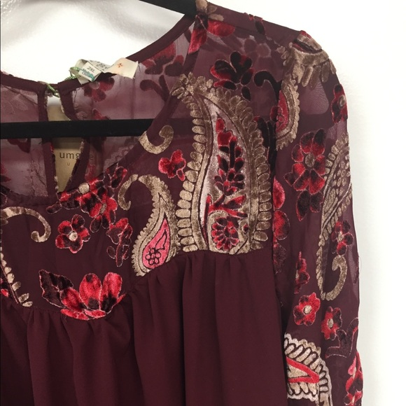 75d330020c9 Dress in Wine with Bell Sleeves Velvet Details. Boutique. Umgee